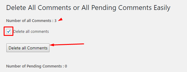 spam, pending and approved comments list