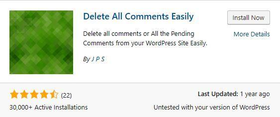 install delete all wordpress comments