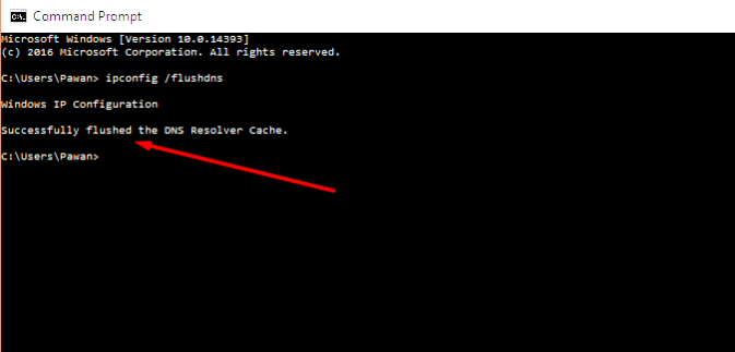 flushed dns cache result